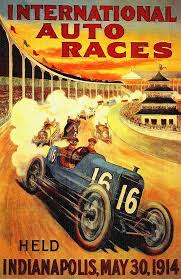 auto painting 1914 indy 500 poster by john farr