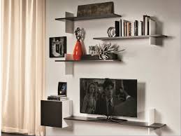 Shelves For Tv by Interior Wall Mounted Tv Decor With Narrow White Tone Floating