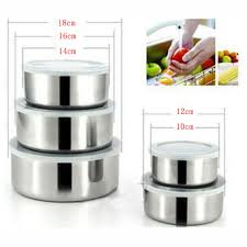 Metal Containers With Lids For Storage - gosear 5 pcs stainless steel food storage containers box mixing