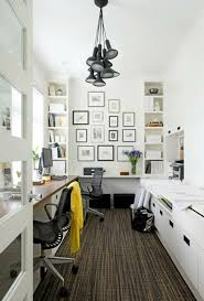 Home Office Decorating Ideas Small Spaces Small Home Office With Bookshelves Black And White Frame Collage