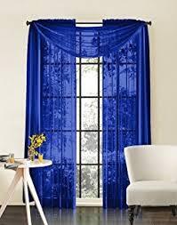 royal blue bedroom curtains amazon com 2 piece beautiful sheer window royal blue elegance