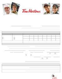 Resume For Tim Hortons Job by Free Printable Tim Hortons Job Application Form