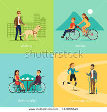 Blind Man Rides Bike Physical Activity People Engaged Outdoor Sports Stock Vector