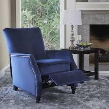 prolounger navy blue velvet push back recliner chair free