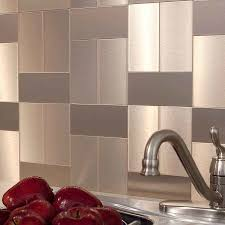 Home Design  Lowes Kitchen Backsplash Peel And Stick Regarding - Stainless steel backsplash lowes