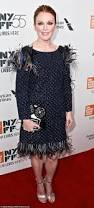 julianne moore is sophisticated chic in feathered gown daily