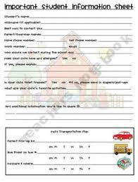student info sheet freebie freebies student info