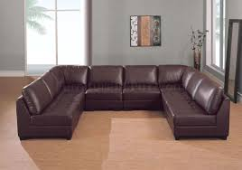 Cheap Modern Sectional Sofas by Brown Leather 8 Pc Modern Sectional Sofa W Tufted Seats