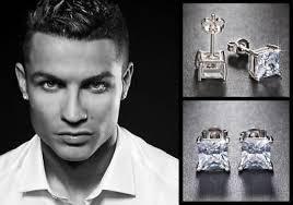 mens huggie earrings men s boy s neymar 18ct white gold plate diamond effect
