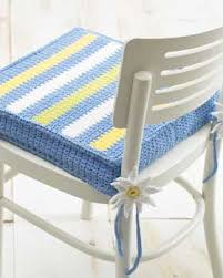 Tie On Chair Cushions Spring Like Striped Chair Pad Chair Pads Crochet Cushion Cover
