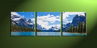 3 piece blue landscape canvas mountain artwork