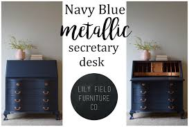 Secretary Desk With Drawers by Navy And Copper Secretary Desk Makeover Lily Field Co
