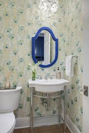 peacock feathers powder room wallpaper design ideas