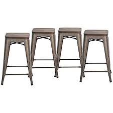 Metal Bar Stools With Wood Seat Amazon Com Buschman Set Of Four Bronze Wooden Seat 24 Inches