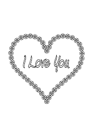 i love you flowers in a shape of a heart coloring pages batch