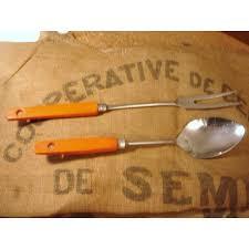 lot ustensile de cuisine lot ustensiles vintage inox manches bois orange cuillère doseur