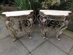 Wrought Iron Console Table Pair Early C20th Marble Topped Wrought Iron Console Tables