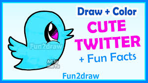 twitter blue color how to draw cute cartoons twitter bird easy step by step