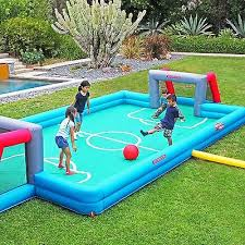 Kids Playing Backyard Football Outdoor Deck Backyard Sports Kids Play Fun Soft Soccer Field