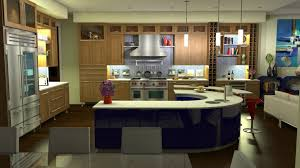 fabulous efficient kitchen layout with j shape dinning set in blue