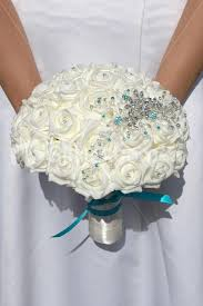 artificial wedding bouquets shop ivory aqua brooch artificial wedding bridal