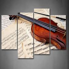 online get cheap violin wall art aliexpress com alibaba group piece of musics and violin in brown wall art painting pictures print on canvas music the picture for home modern decoration