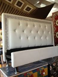 perfect white leather headboard with crystals 37 in tufted