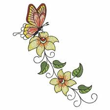 butterfly flower border embroidery designs machine embroidery