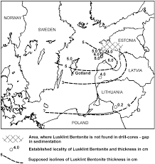 Isoline Map Definition Correlation Of Silurian Bentonites From Gotland And The Eastern