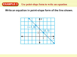1 use point slope form to write an equation example 3 write an equation in point slope form of the line shown