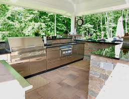 outdoor kitchen cabinets and decor with natural stone full size