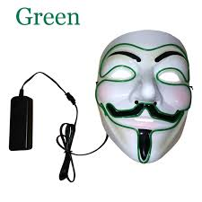 led light up guy fawkes for vendetta mask el wire mask edm fawkes