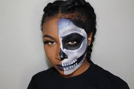 half skull halloween makeup tutorial beginner friendly youtube