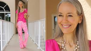 classic fashion style over 40 over 50 bright pink palazzo pants