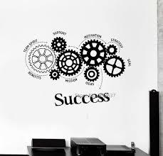 stickers bureau citations vinyle sticker succès mots engrenages bureau motivation