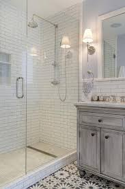 Gray Subway Tile Bathroom by Fabulous Bathroom Features A Gray Distressed Washstand