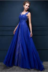 royal blue lace chiffon popular 2017 prom dresses appliques