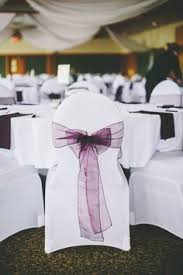 Spandex Chair Sashes Two Tone Purple Organza Sashes With White Spandex Chair Covers