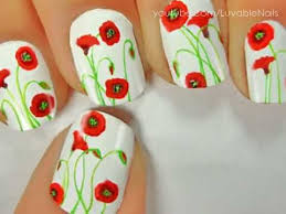 california poppies flowers nail art by luvablenails youtube