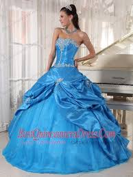 blue ball gown strapless floor length taffeta and tulle appliques