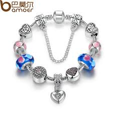 bracelet charms diy images Bamoer strand bracelet silver color friendship bracelets with blue jpg