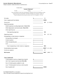 Income Statement For Non Profit Organization Template by Income Statement Manufacturer Corporation