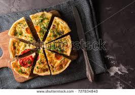 cuisine quiche lorraine pieces quiche lorraine bacon cheese stock photo 727834840