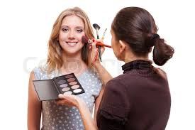 professional makeup artist professional make up artist working with model stock photo
