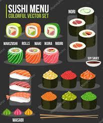 cuisine types sushi set of various different japanese food types sushi maki
