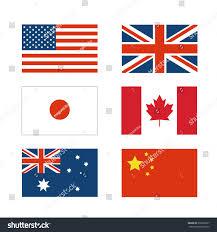 Dansk Flag Set National Flag Japan China America Stock Vector 378202837