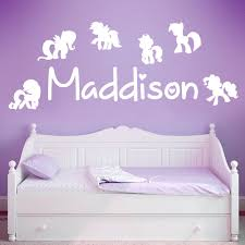 wall designer wall art stickers personalised name girls wall art sticker my little pony ponies friendship is magic