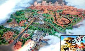 Disney Springs Map Disney Pixar Cars Carsland Map Of The Future Take Five A Day