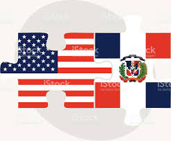 Dominican Republic Flag Usa And Dominican Republic Flags In Puzzle Stock Vector Art