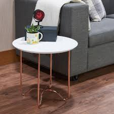 White Rose Furniture Acme Furniture Canty End Table In White And Rose Gold 81862 The
